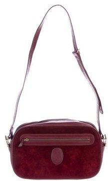Cartier Suede Leather-Trimmed Shoulder Bag