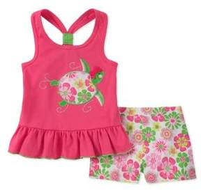 Kids Headquarters Little Girl's Floral Turtle Tank and Short Set