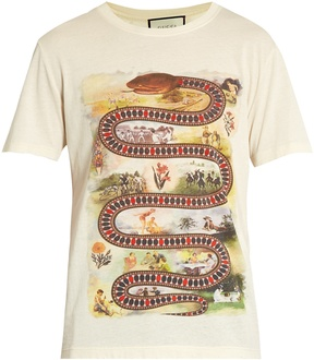 Gucci Snake-print cotton T-shirt