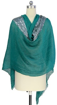 Saachi Hunter Green Sequins Striped Scarf