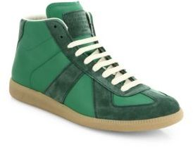 Maison Margiela Replica Leather & Suede Mid-Top Sneakers