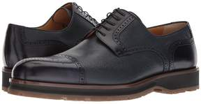 a. testoni Mixed Media Rubber Sole Cap Toe Derby Men's Lace Up Cap Toe Shoes