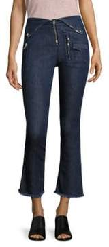 RtA Lolita Fold-Over Biker Kick Flare Jeans