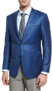 Canali Gingham Wool Two-Button Sport Coat, Blue