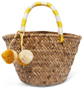 Kayu St Tropez Mini Pompom-embellished Embroidered Woven Straw Tote - Yellow
