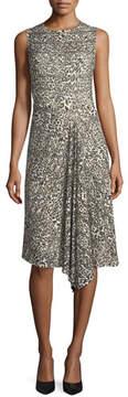 Escada Leopard Virgin Wool Handkerchief-Hem Dress