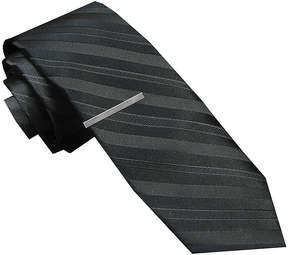 Jf J.Ferrar JF Textured Tonal Tie and Tie Bar Set - Skinny
