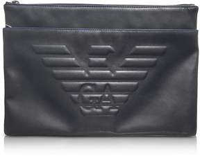 Emporio Armani Black Eagle Embossed Eco Leather Men's Clutch
