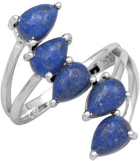 Lapis & Sterling Silver Pear-Cut Bypass Ring