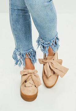 Missguided Nude Faux Suede Platform Sneakers