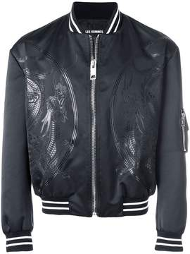 Les Hommes dragon patch bomber jacket