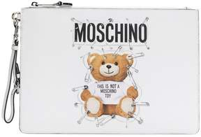 Moschino medium teddy bear print clutch