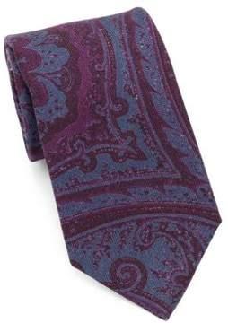 Isaia Paisley Print Silk Tie