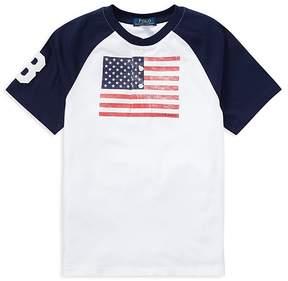 Polo Ralph Lauren Boys' Cotton Jersey American Flag Henley Tee - Big Kid