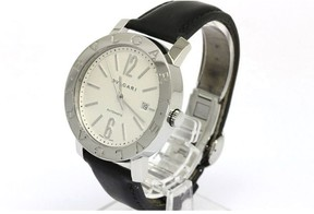 Bulgari Stainless Steel & Leather Band Automatic Mens Watch