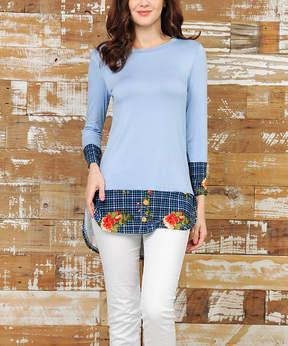 Celeste Indigo Floral & Plaid Layered Tunic - Women