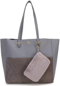Kate Landry Deville Leather and Faux Suede Tote