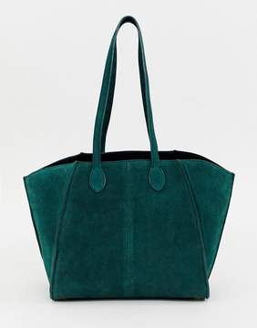 Asos DESIGN bonded suede winged shopper bag with removable inner