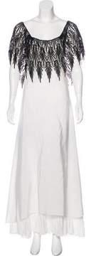 Gianfranco Ferre Crochet-Trimmed Satin Dress