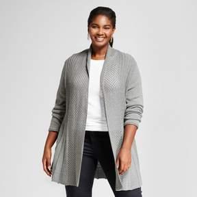 Notations Women's Plus Size Long Sleeve Open Fan Stitch Cardigan Sweater