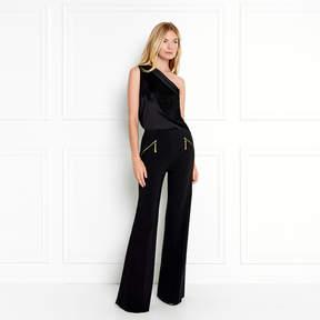 Rachel Zoe Kenna One-Shoulder Fringe Silk Blouse