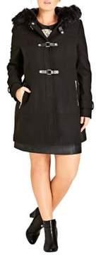 City Chic Plus Faux Fur-Trimmed Wonderland Coat