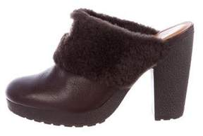 Hunter Shearling-Trimmed Leather Mules