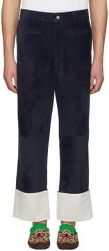 Loewe Navy Suede Fisherman Trousers