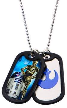 Star Wars Stainless Steel R2D2 & C3PO with Rubber Silencer Double Dog Tag Pendant Necklace