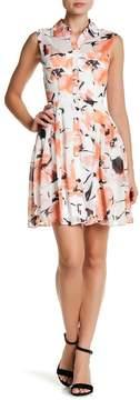 Betsey Johnson Printed Chiffon Shirtdress
