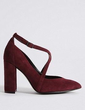 Marks and Spencer Suede Block Heel Cross Strap Court Shoes
