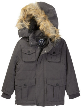 Urban Republic Microfiber Safari Jacket with Faux Fur Trim (Little Boys)