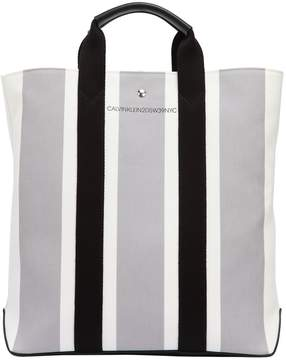 Calvin Klein Striped Cotton Jacquard Tote Bag