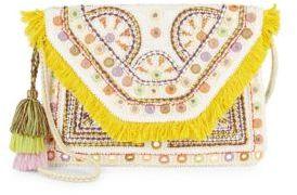 Fringed Trim Cotton Shoulder Bag