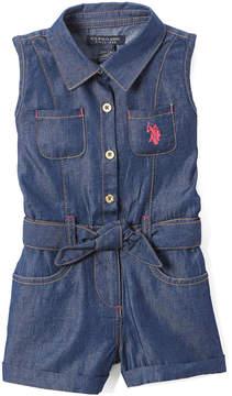U.S. Polo Assn. Dark Wash Self-Tie Belt Romper - Infant