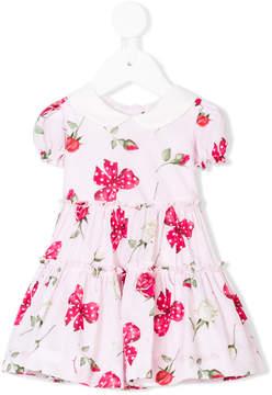 MonnaLisa bow and rose printed dress