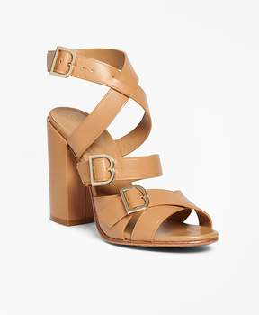 Brooks Brothers Multi Strap Stacked Heel Sandals