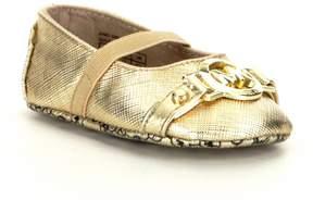 MICHAEL Michael Kors Girls Baby Giby Metallic MK Ornament Crib Shoes
