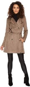 BB Dakota Baldwin Faux Suede Belted Trench Coat Women's Coat