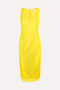 Diane von Furstenberg Crocheted Lace Dress - Yellow