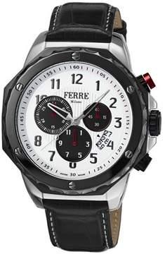 Ferré Milano Men's Swiss Made Swiss Quartz Black Leather Strap Watch.