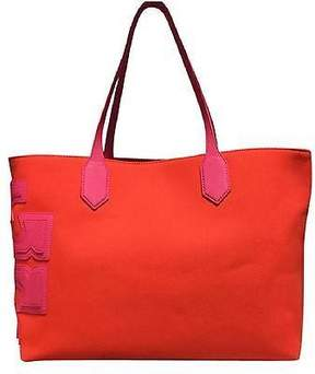 Tory Burch New 38108) Canvas Stacked T East West Tote Bag Poppy Red Fiesta Logo - POPPY RED & FIESTA - STYLE