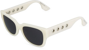 McQ Eyelet Square Plastic Sunglasses, Ivory