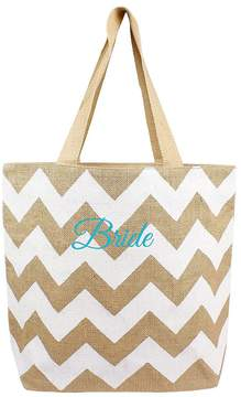 Cathy's Concepts Bride-Embroidered Chevron Jute Tote Bag