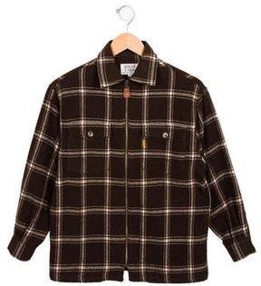 Armani Junior Boys' Plaid Collared Jacket