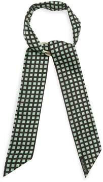 VALENTINO Grid-print skinny silk scarf