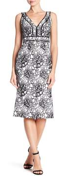 Carmen Marc Valvo Floral Embroidered Sequin Midi Dress