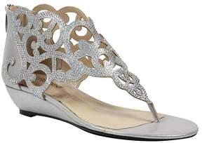 J. Renee Minka Satin and Rhinestone Wedge Sandals