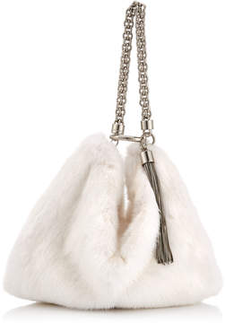 Jimmy Choo CALLIE White Mink Fur Clutch Bag