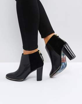 Ted Baker Azaila Black Leather Heeled Ankle Boots